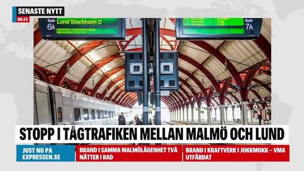 Stort tågstopp mellan Lund och Malmö – osäker prognos