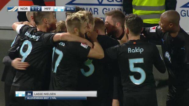 Här gör Lasse Nielsen 2-1 för Malmö FF