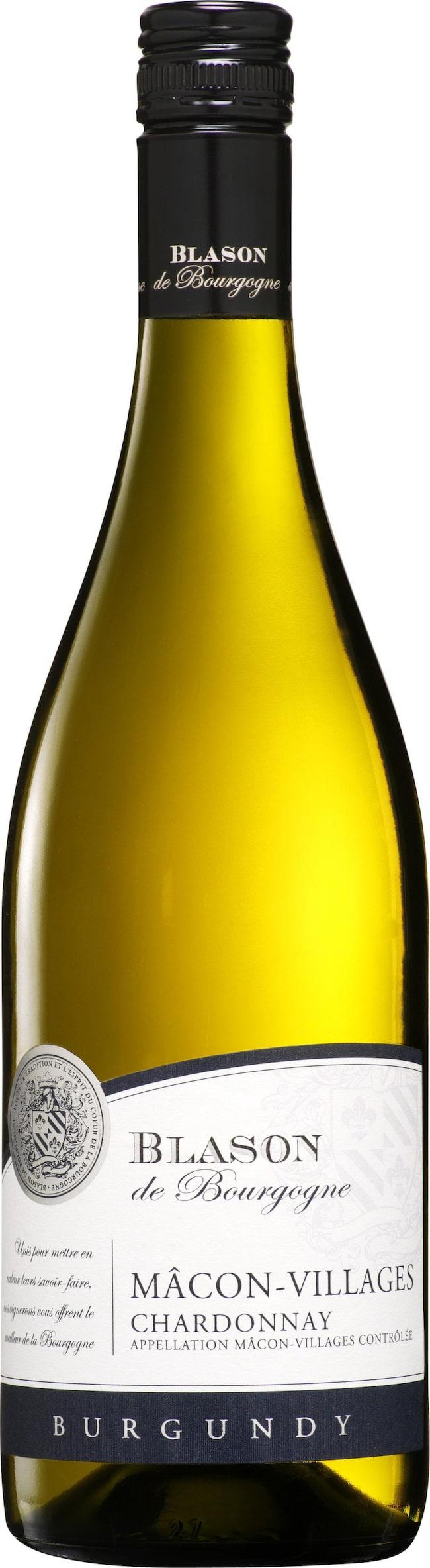 """Blason de Bourgogne Mâcon- Villages Chardonnay 2011 (2295) Frankrike, 77 kronor <br><span class=""""wasp-icon""""></span><span class=""""wasp-icon""""></span><span class=""""wasp-icon""""></span><span class=""""wasp-icon""""></span><span class=""""wasp-icon""""></span><br>Frisk, äpplig frukt med lätt smörigt drag och en frisk, pigg fruktsyra. Utmärkt gott. Gärna till grillad lax med limeaioli."""
