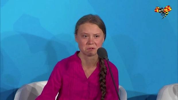 Här bryter Greta Thunberg ihop i FN