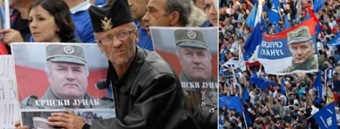 7000 demonstranter drabbade samman med kravallpoliser i Belgrand på söndagskvällen efter beskedet at Mladic kan utlämnas till Haag-tribunalen på måndagen. Foto: AP