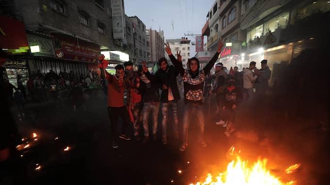 Strax efter Trumps väntade men kontroversiella beslut valde Hamas-ledaren Ismail Haniya att utlysa en ny intifada – det vill ett uppror – mot Israel. Foto: MOHAMMED SABER / EPA / TT