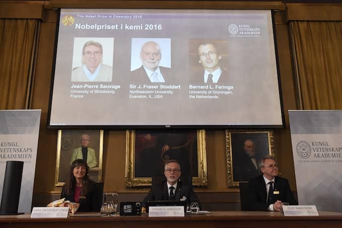 Jacques Dubochet, Joachim Frank och Richars Hendersson delar på årets Nobelpris i kemi. Foto: HENRIK MONTGOMERY/TT / TT NYHETSBYRÅN