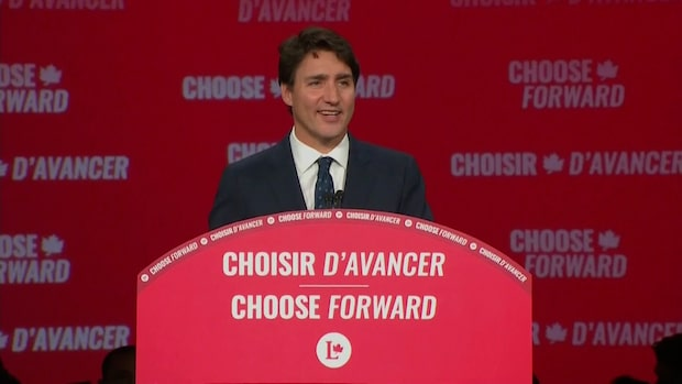 """Se Justin Trudeaus segertal: """"Idag tog Kanada en väg framåt tillsammans"""""""