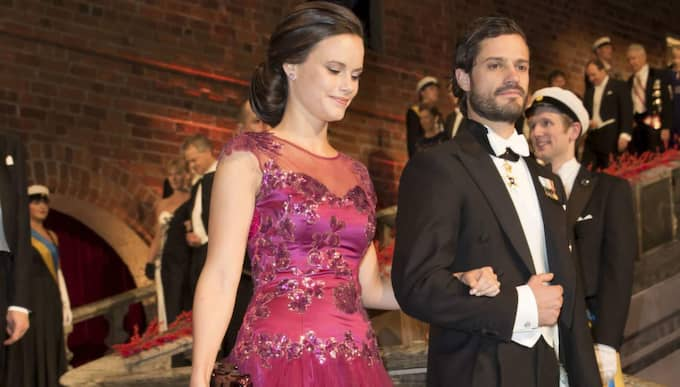 Prinsessan Sofia och Carl Philip vid Nobelfesten förra året. Foto: David Sica