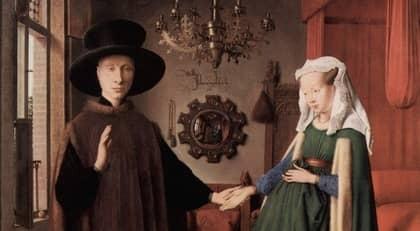 Arnolfinis bröllop av Jan van Eyck. Målningen är något beskuren.