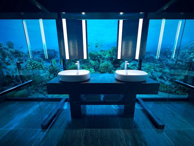 Ett stort sovrum, vardagsrum och badrum ligger under vatten.