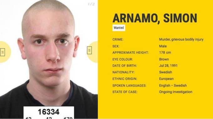 Två personer som efterlysts av den svenska polisen finns med på den nya hemsidan där EU:s polismyndigheter listar Europas mest eftersökta brottslingar. En av dem är den mordmisstänkte nazisten Simon Arnamo, 23. Foto: Europol