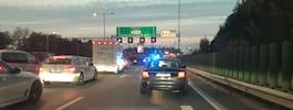 Trafikolycka på E4 – polis på plats