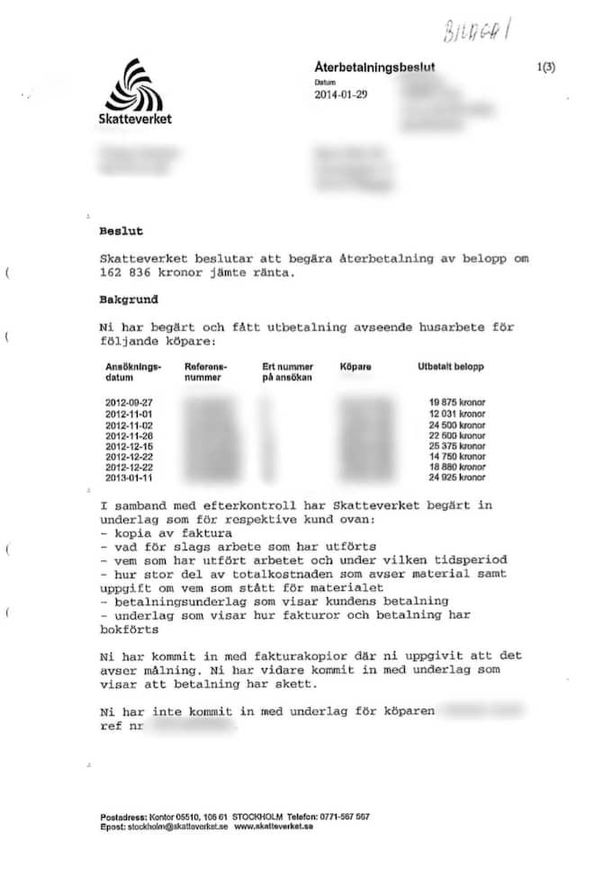 Skatteverket begärde återbetalning av ett belopp på drygt 162 000 kr av städföretaget.