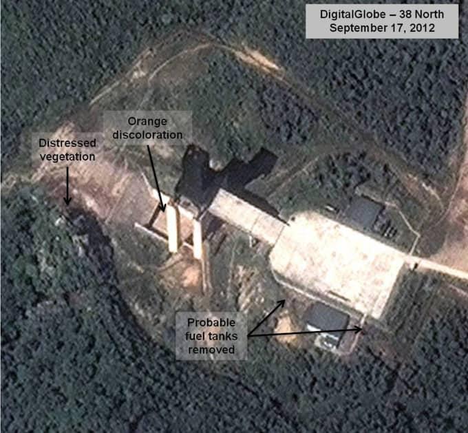 Satellitbilder visar hur att aktiviteten runt platsen har ökat den senaste tiden. Satellitbilden är tagen vid ett tidigare tillfälle,