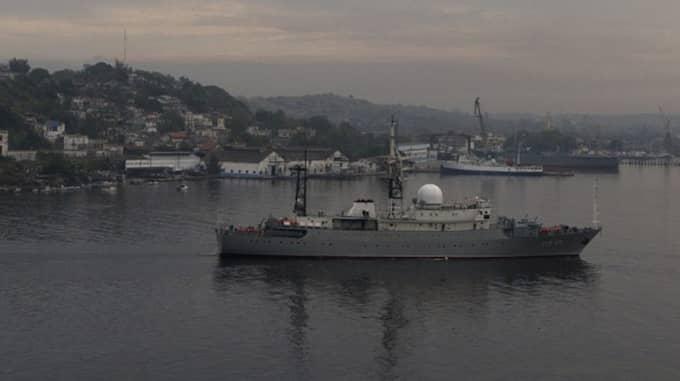 Skeppet SSV-175 Viktor Leonov ship befann sig 70 mil utanför Delwares kust, i internationella vatten. Bilden är tagen i Kuba 2015. Foto: AP