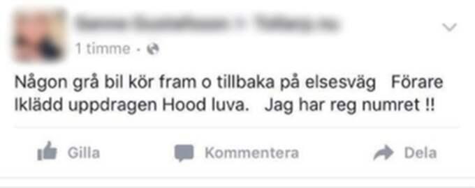 Kvinnans varning på Facebook. Foto: Skärmdump