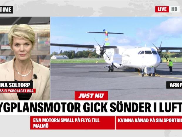 Ena motorn small på flyg till Malmö