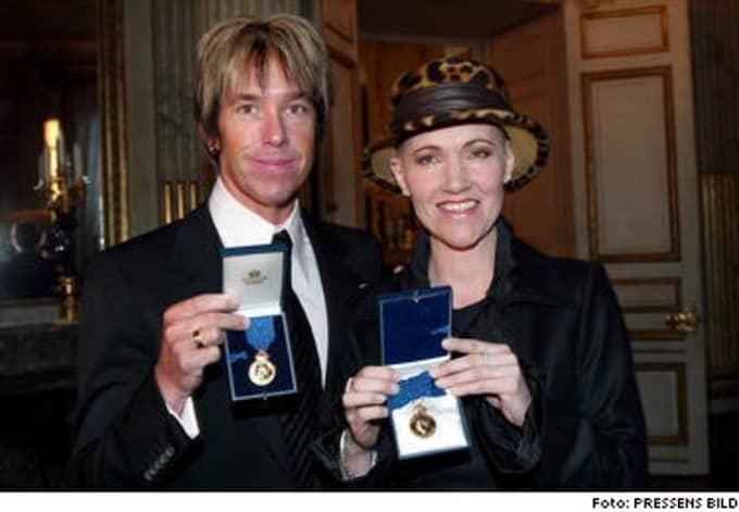 Marie Fredriksson och Per Gessle var stolta över sina kungamedaljer.