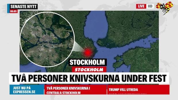 Två knivskurna på fest i Stockholm
