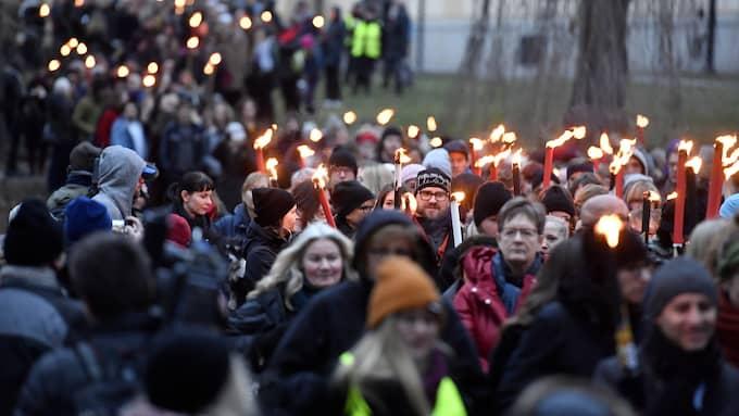 Fackeltåg gick bland annat genom Stockholm. Foto: JONAS EKSTRÖMER/TT / TT NYHETSBYRÅN