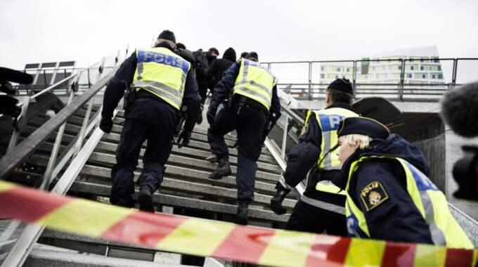 Sedan november har Hyllie station i Malmö varit en av de platser där polisen haft stora resurser för att hålla den inre gränskontrollen. Foto: Anna-Karin Nilsson