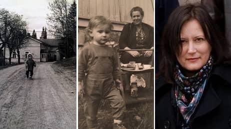 Annina Rabe. Till vänster Rabe som barn, med tant Jeppe.