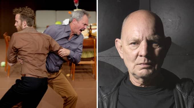 """Till vänster: Robert Olofsson och Jörgen Düberg i """"Noréhotellet"""". Till höger: Lars Norén. Foto: HENRIK MONTGOMERY / MALIN ARNESSON"""