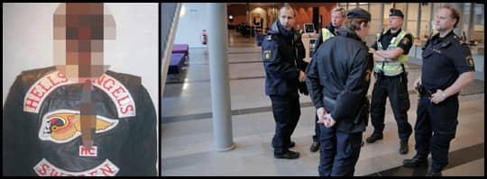 Flera poliser var på plats vid Göteborgs tingsrätt för att bevaka processen mot de 19 HA-männen.