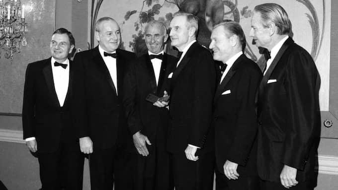 De fem Rockefeller-bröderna David, Winthrop, John, Nelson och Laurence vid en prisutdelning i New York 1967. Foto: Ap / AP TT NYHETSBYRÅN