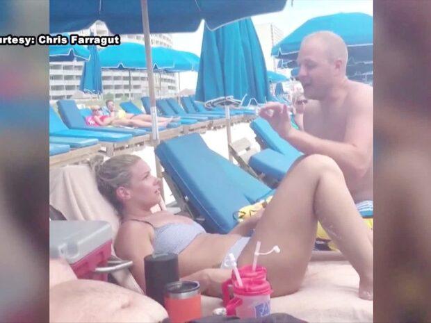 Kärleksparets fiasko på stranden –en våg förstörde allt