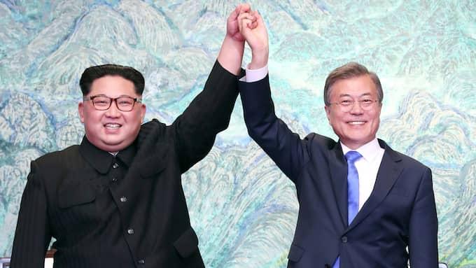 Kim Jong-Un och Moon Jae-In reste sina händer efter att ha skrivit under ett gemensamt uttalande. Foto: AP / AP TT NYHETSBYRÅN