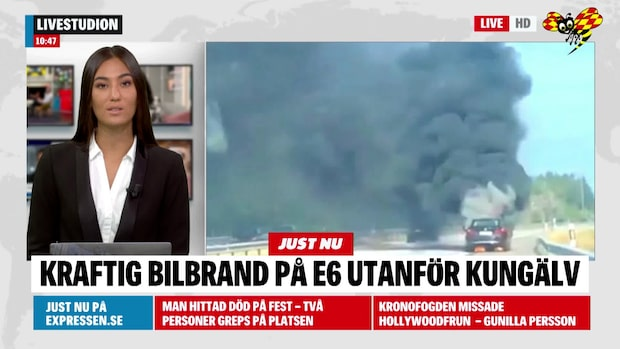 Kraftig bilbrand – stora trafikstörningar