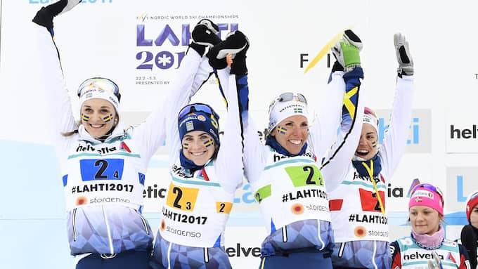 Stina Nilsson och Anna Haag var silverhjältar under VM. Foto: CARL SANDIN