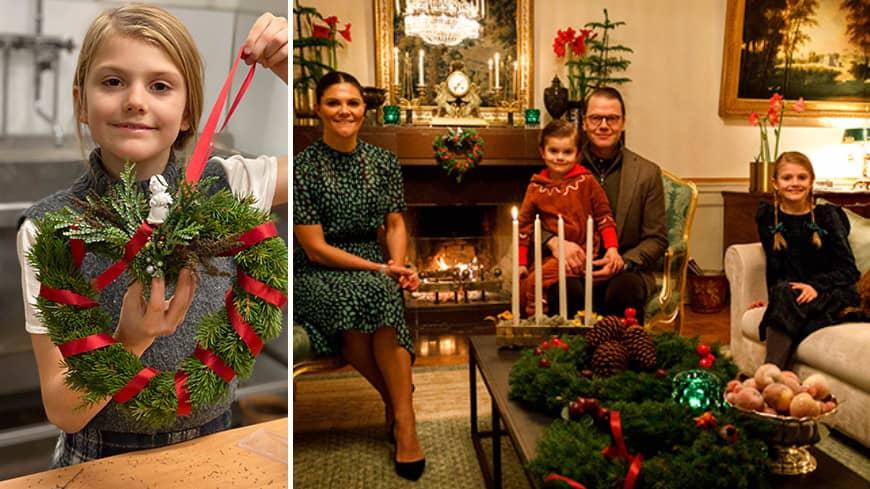 Estelles julmys på Haga: Binder krans med lillebror