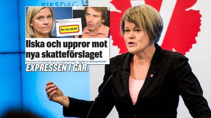 """Ulla Andersson (V): """"Det här är fortfarande en väldigt gynnsamt sparande. Det handlar om en skattehöjning på 40–50 kronor per år om man har ett sparande på 200 000 kronor."""""""