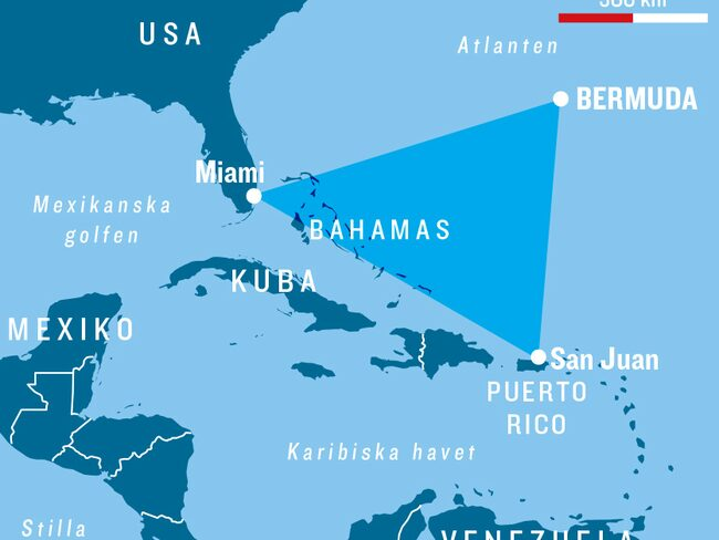 Bermudatriangeln är cirka 1 miljon kvadratkilometer.