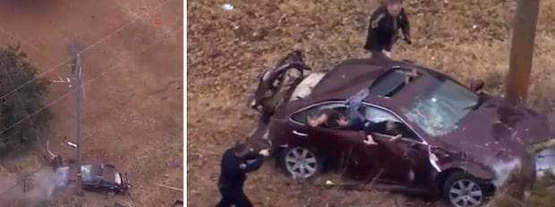 Biljakten slutar med dramatisk krasch