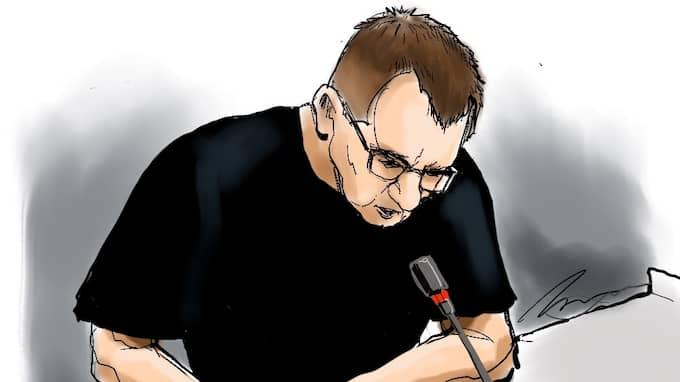 Teckning från rättegången mot Peter Madsen, föreställande den mordmisstänkte ubåtsbyggaren. Foto: HELEN RASMUSEN