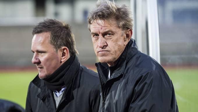 Sergej Prigoda (till höger) tillsammans med Prespa Birliks assisterande tränare Christian Lind. Foto: Christian Örnberg / Bildbyrån