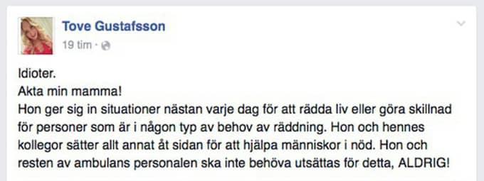 Inlägget på Facebook. Foto: Facebook