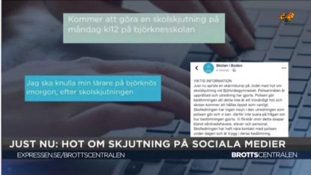 Hot om skolskjutningar på sociala medier - eleverna tar det på allvar
