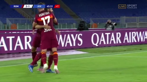 Roma kontrar in 2-1 sekunder före halvtid