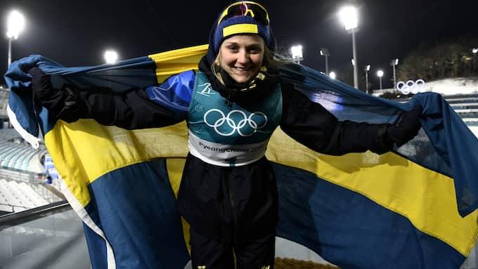 Stina Nilsson efter guldet Foto: / SVEN LINDWALL