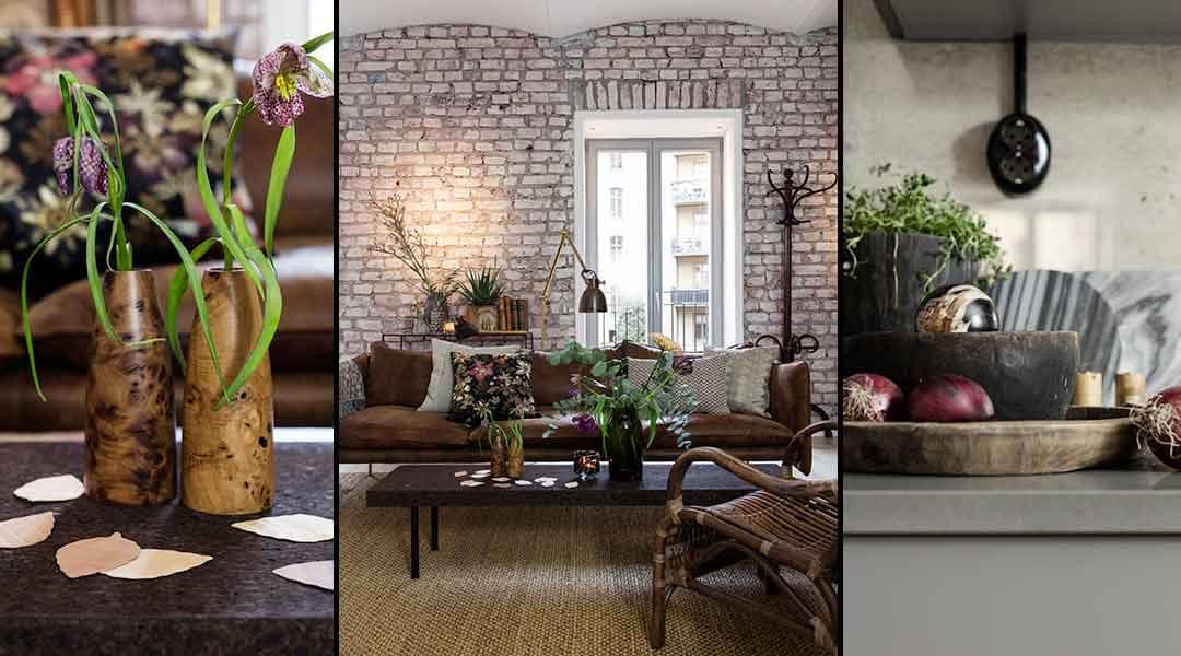 Mixa betong, läder och trä till ett harmoniskt hem