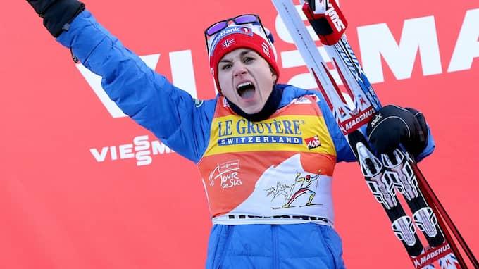 Heidi Weng vann damernas Tour de ski i fjol. Foto: ANDREA SOLERO / AP TT NYHETSBYRÅN