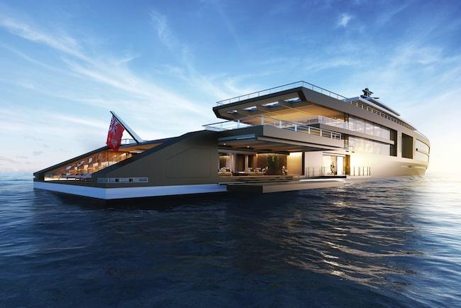 Nya värstingyachten Nature visas upp på båtmässan i Monaco.