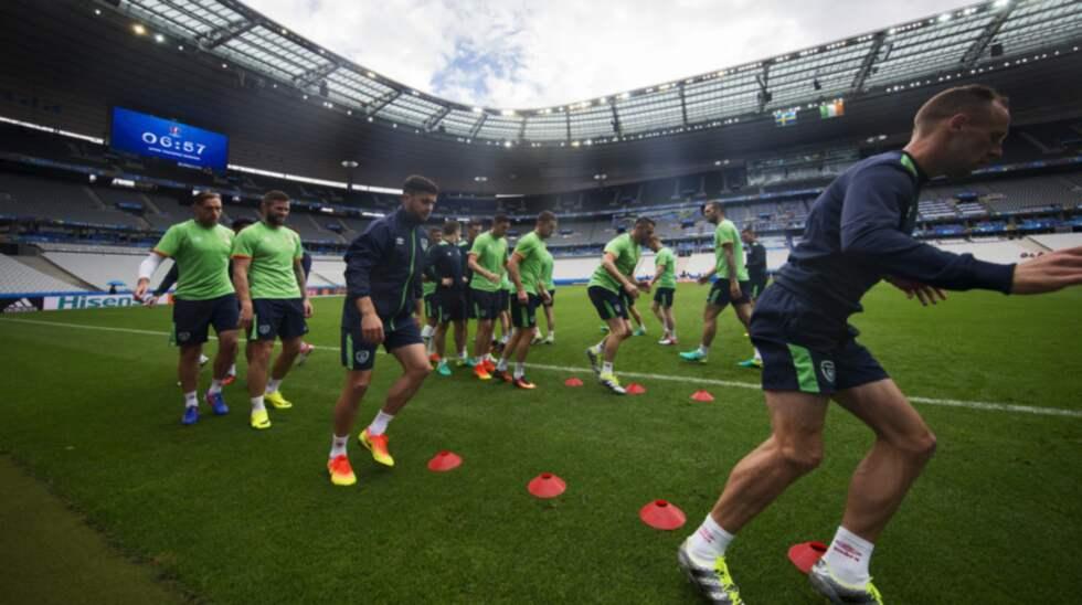 Irland tränade efter Sverige i går kväll på matcharenan i Paris. Foto: Nils Petter Nilsson