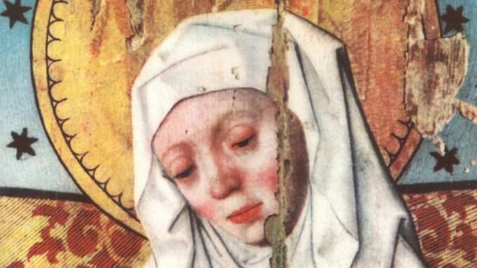 Heliga Birgitta på ett altarskåp i Salems kyrka, Södermanland.