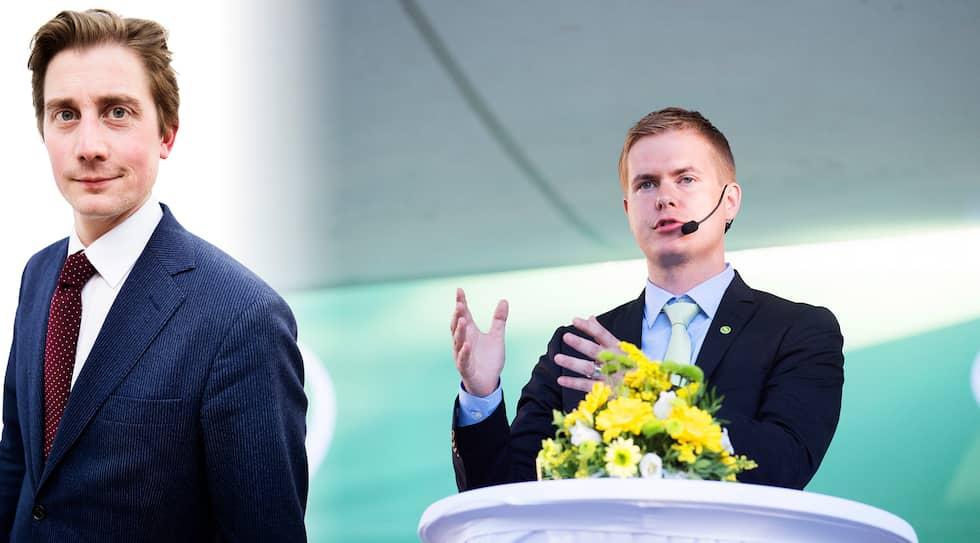 Gustav Fridolin var länge Miljöpartiets underbarn. Nu säger många att han är förändrad. Till vänster syns Expressens reporter Torbjörn Nilsson.