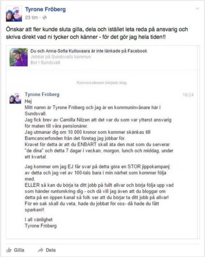 Här är inlägget som Tyrone Fröberg skrev på facebook.