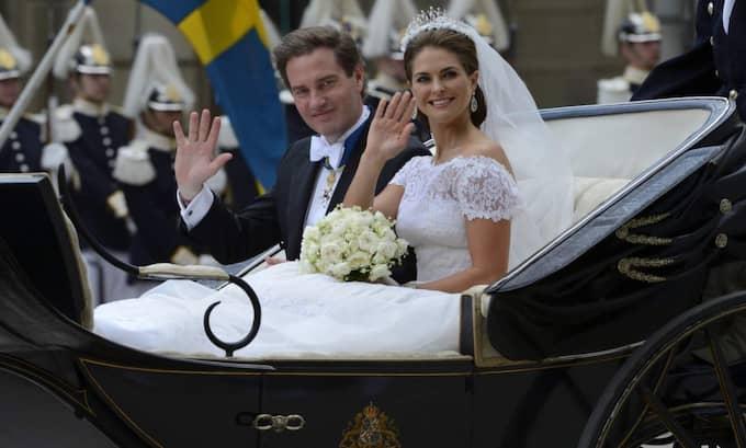 Prinsessan Madeleine var klädd i en Valentino-brudklänning när hon gifte sig med Chris O'Neill. Foto: Christian Örnberg