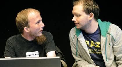 Gottfrid Svartholm Varg och Peter Sunde från The Pirate Bay på plats när Piratbyrån och The Pirate Bay höll presskonferens på Tekniska museet. Foto: Jan Düsing