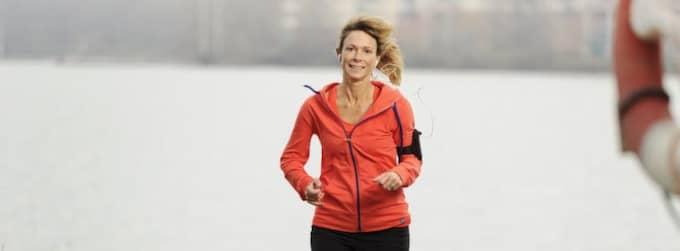 Lotta Linderson är stolt över att hon efter några månaders löpträning klarade att springa en mil. Foto: Mikael Sjöberg